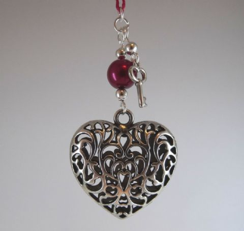 Silver Tone Tibetan Heart, Red Pearl and Key - Wedding Favour - Valentine